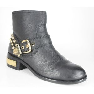 Vince Camuto Windetta Gold Studded Black Moto Boot